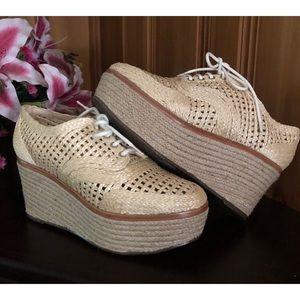 Schutz Jules Oxford Jute Platform Shoes 6.5